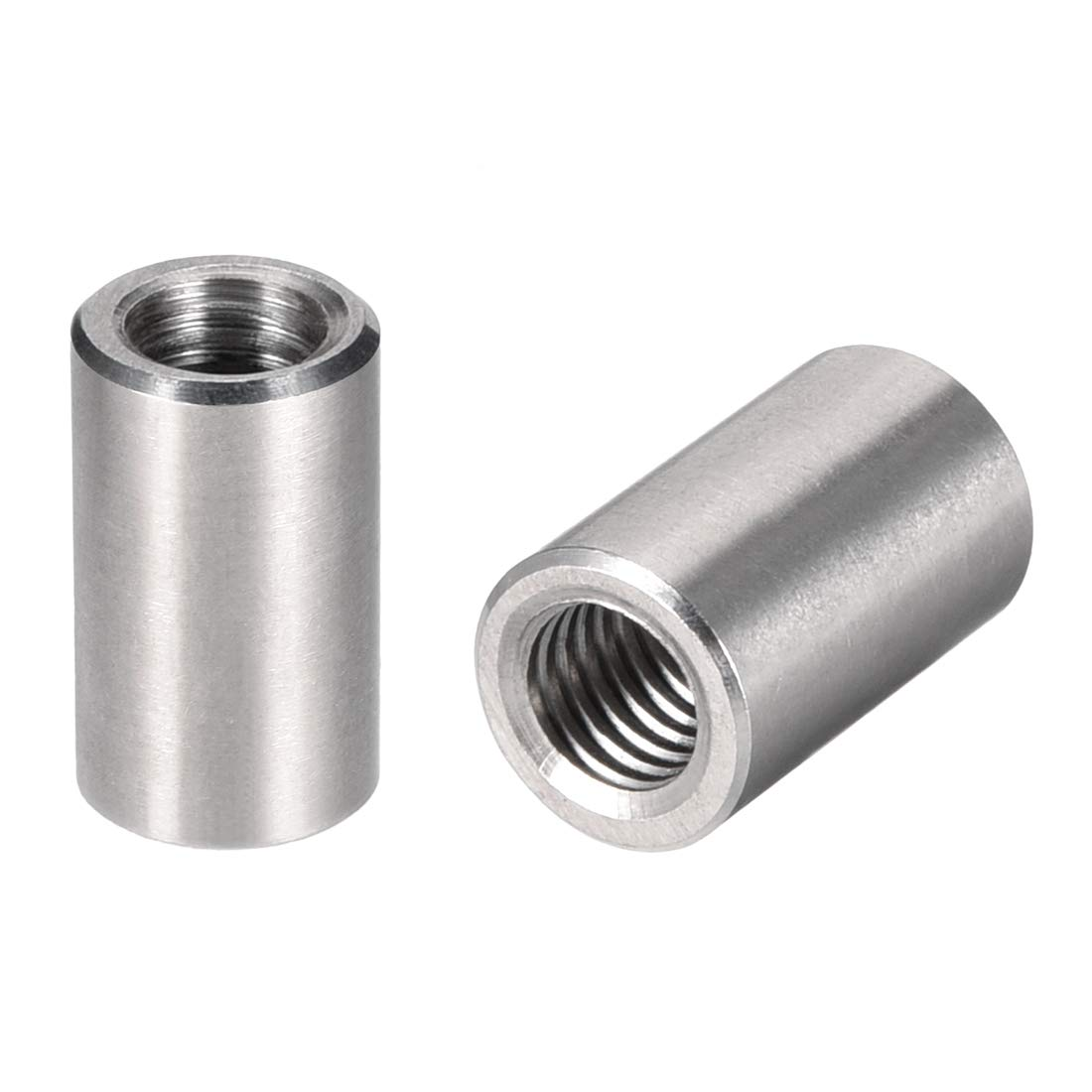 Uxcell a16050300ux0583 M8 304 Stainless Steel Threaded Sleeve Rod Bar Stud Round Connector Nuts Joiner 5pcs