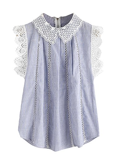SheIn Women's Contrast Scallop Lace Trim Pinstripe Blouse Blue Large