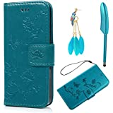 ZSTVIVA iPhone 5 Wallet Case,Luxury Premium PU Leather Flip Cover Embossed Lovely Lotus Flower Flying Butterfly Style Bumper with Built-in Credit Card/ID Card Slots Stand Holder for iPhone 5/SE - Blue