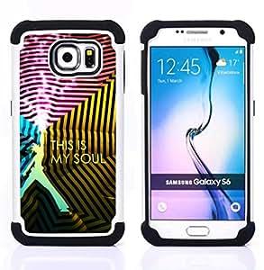 GIFT CHOICE / Defensor Cubierta de protección completa Flexible TPU Silicona + Duro PC Estuche protector Cáscara Funda Caso / Combo Case for Samsung Galaxy S6 SM-G920 // This Is Soul //