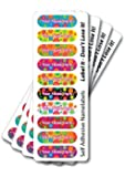 Name labels, floral stick on name labels, 40 label pack with over laminates. Personalised, fun, vibrant & waterproof. Multi coloured pack!