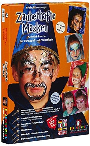 Eulenspiegel 103333 - Schminkset Zauberhafte Masken, Schminkpalette mit Puder, Pinsel, 2 Schwämmchen und Anleitung, 2 Glitzerfarben, 13 Farben