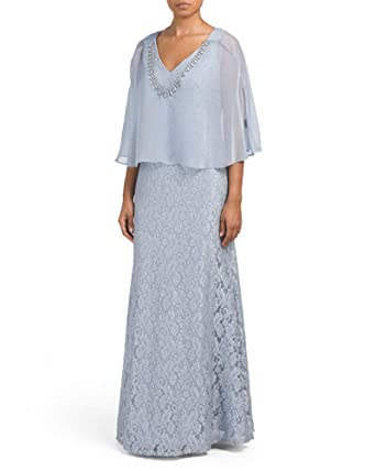 2ca231aa Image Unavailable. Image not available for. Color: Ignite Evenings Glitter  Lace Gown with Beaded Cape ...