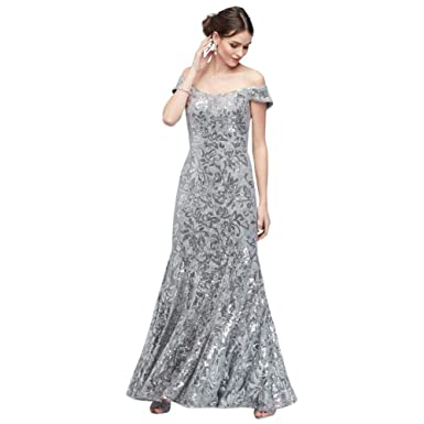 ff455887885926 Sequin Lace Off-The-Shoulder Mermaid Mother of Bride/Groom Gown Style 1495X  at Amazon Women's Clothing store: