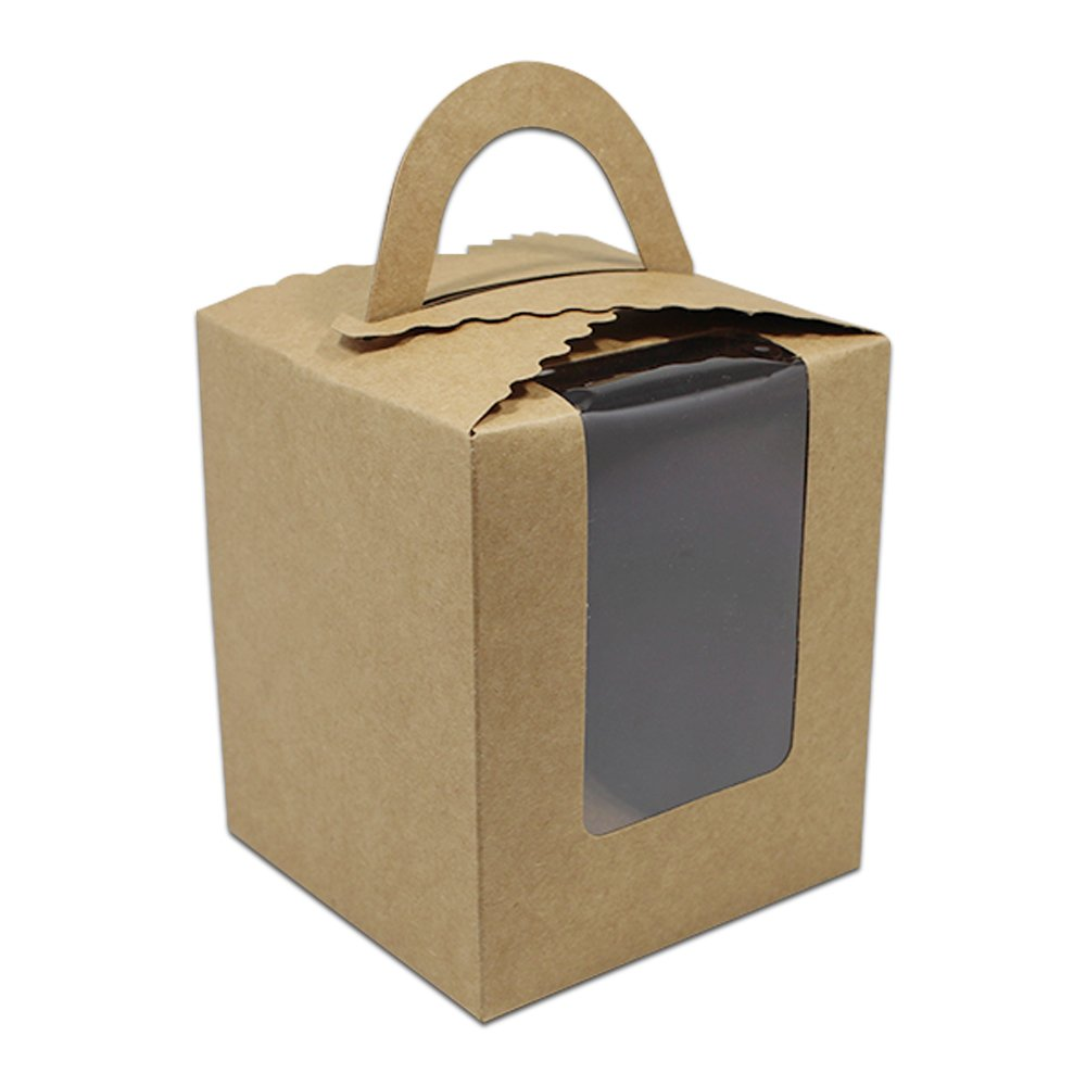 120 Pcs Clear Bakery Pastry Brown Kraft Paper Single Cupcake Boxes With Window and Handle Wholesale Recycled Brown Cardboard Candy Party Favor Boxes 3.7x3.7x4.3 inch