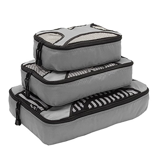 Travel Packing Organizers - Clothes Cubes Shoe Bags Laundry Pouches For Suitcase Luggage, Storage Organizer 3 Set Color Grey from TravelIn