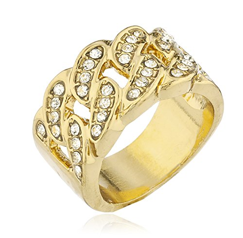 JOTW Men's Goldtone Iced Out Ring Cuban Link Design Stones (9) (D-1142-9)