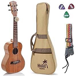 Tenor Ukulele Deluxe Series by Hola! Music (Model HM-127KA+), Bundle Includes: 27 Inch Koa Ukulele with Aquila Nylgut…