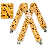 Brimarc Bretelles pour homme Motif ruban à mesurer jaune et outillage