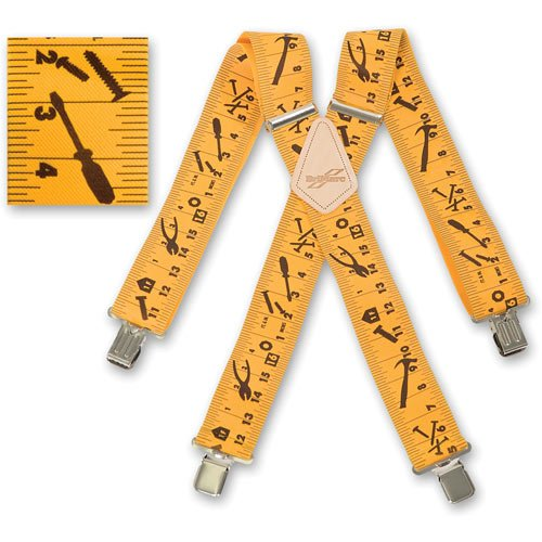 MENS BRACES YELLOW TAPE MEASURE DESIGN BRIMARC HEAVY DUTY 2