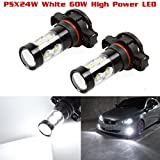 Partsam 1 Pair PSX24W 2504 12276 60w White 6000K Fog Light Driving Lamp made by High Power Epistar LED w/ in-bulit IC Control and Black Auminum Alloy