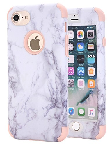 (iPhone 7 Case, iPhone 8 Case, Ankoe White Marble Stone Pattern Shockproof Full Body Protective Cover Dual-Layer Slim Soft Flexible Silicone and Hard PC for Apple iPhone 7/8 (Rose Gold))