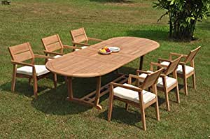 "WholesaleTeakFurniture Grade-A Teak Wood 6 Seater 7 Pc Dining Set: 118"" Double Extension Mas Oval Trestle Leg Table 6 Vellore Stacking Arm Chairs #WFDSVL41"