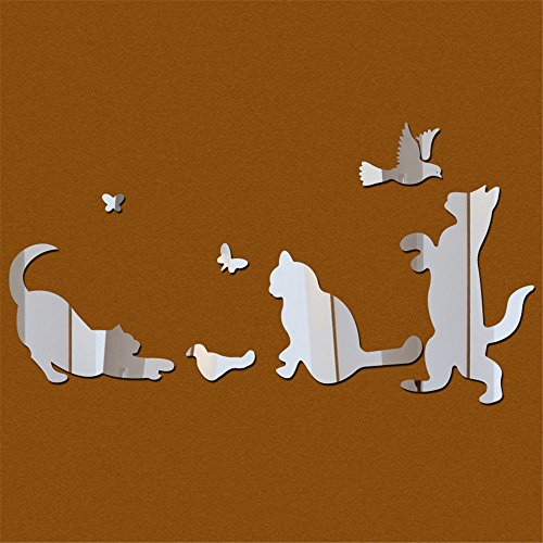 NIHAI Play Cat and Dog Silver 3D Mirror Wall Sticker, Easy to Peel Easy to Stick- Removable Acrylic Modern Stickers Home Decoration for Kids Nursery Bedroom Living Room ()