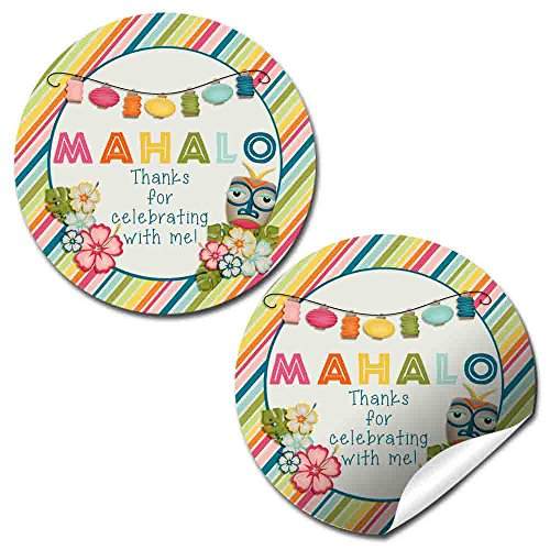Tropical Hawaiian Luau Party Thank You Sticker Labels, 20 2