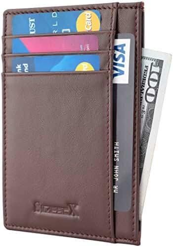 SimpacX Slim Wallet RFID Front Pocket Wallet Minimalist Mens Womens Credit Card Holder Genuine Leather