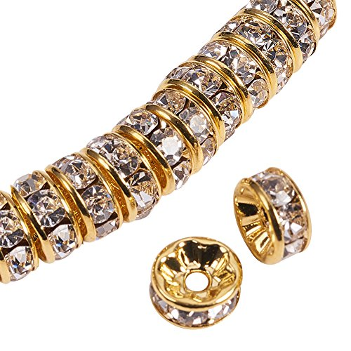 (PandaHall Elite 50 Pcs Rondelle Nickel Free Grade AAA Brass Rhinestone Straight Flange Spacer Beads Golden 8x3.8mm for Craft)