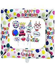 Inflatable Selfie Frame and Photo Booth Props Inflatable Frames balloons with 22 Pcs Photo Booth Props DIY Kit for Birthday Shower Baby Shower Party Favor Supplies