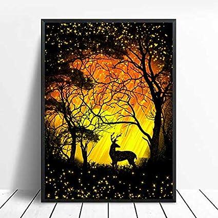 xinyouzhihi Star Elk Print Poster Canvas Canvas Wall Art Landscape Canvas Prints para Decoraciones del hogar 60x75cm Sin Marco