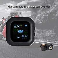 KKmoon Motorfiets draadloze sensor TPMS bandenspanningscontrolesysteem waterdicht monitorsysteem met 2 externe sensor LCD-display alarmfunctie temperatuur display voor motorfiets Moto gereedschap