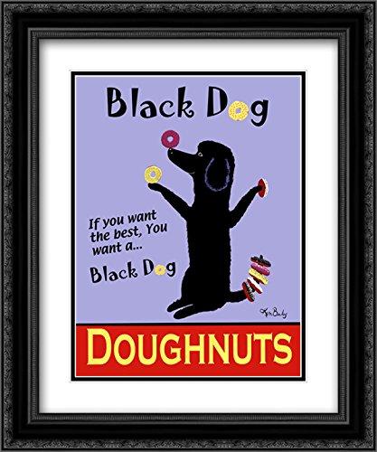 Black Dog Doughnuts 2X Matted 15x18 Black Ornate Framed Art Print by Ken Bailey