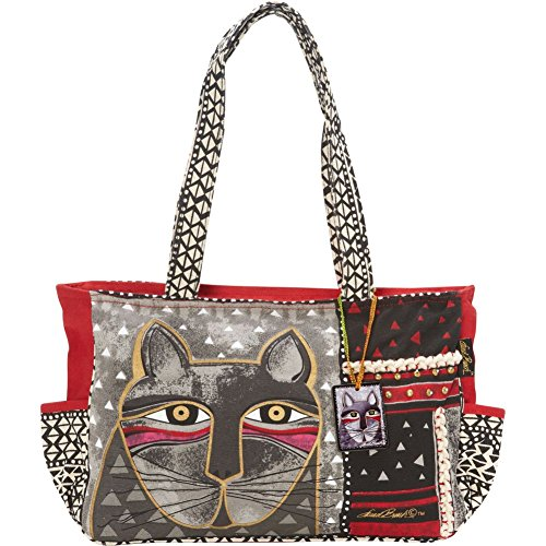 Laurel Burch Laurel Burch Medium Tote Zipper Top 16-1 / 2 pollici da 4 pollici da 9, 3/4-pollici, Whiskered Cat