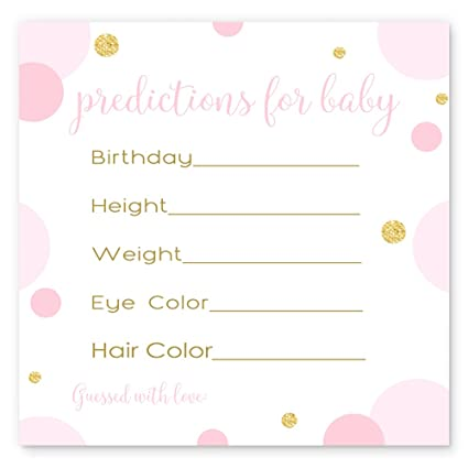 Amazon com: Pink and Gold Baby Shower Predictions for Girls - Game