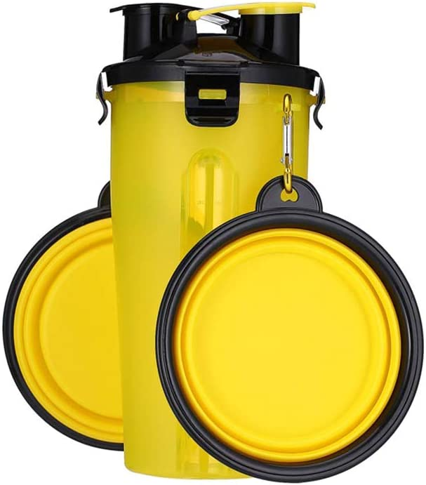 iHOO Dog Travel Water Bottle Food Container Portable 2 in 1 Water and Food Dispenser with Collapsible Bowls Leak Proof Cats Small Pets Feeding Supplier for Outdoor Walking Hiking Trips,1Pcs Yellow