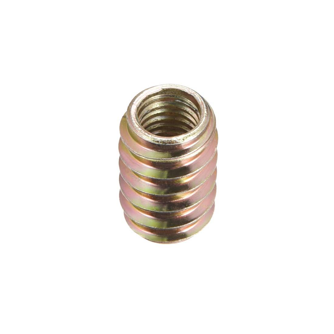 uxcell Furniture Threaded Insert Nut Carbon Steel M8 Internal Thread 20mm Length 50pcs