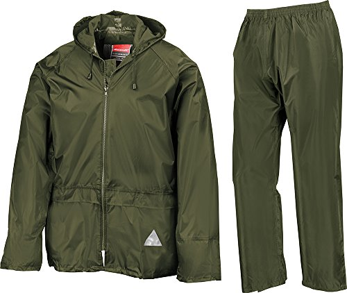 Result Mens Heavyweight Waterproof Rain Suit (Jacket & Trouser Suit) (XL) (Olive) by Result