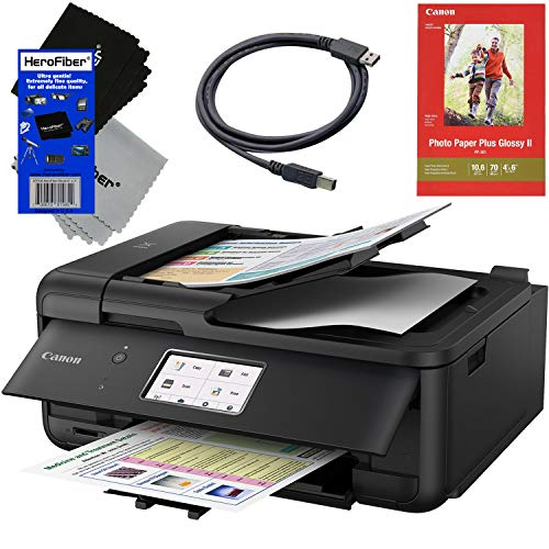 Canon Pixma TR8520 All in One Wireless Inkjet Printer with Photo & Document Print, Scanner, Copier, Fax, AirPrint & Google Cloud Compatibly + USB Printer Cable + 2 HeroFiber Cleaning Cloths ()