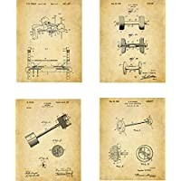 Weightlifting Patent Wall Art Prints - set of Four (8x10) Unframed - wall art decor for fitness fans