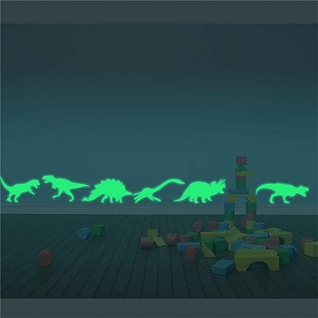 ufengke Luminoso Dinosaurios Pegatinas de Pared Brillo en La Oscuridad Extraíble Rodapié Fluorescente Vinilos de Pared para Habitación de Niños Infantil, 9 Piezas
