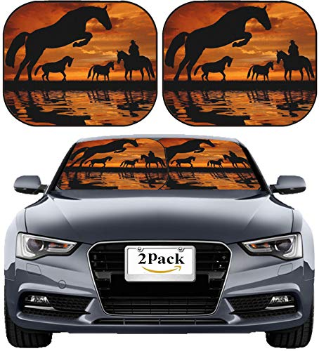 (MSD Car Sun Shade Windshield Sunshade Universal Fit 2 Pack, Block Sun Glare, UV and Heat, Protect Car Interior, Image ID: 10697211 Silhouette Cowboy with Horses in The Sunset)