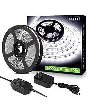 Lepro LED Strip Light, 32.8ft Dimmable Vanity Lights, 6000K Super Bright LED Tape Lights, 600 LEDs SMD 2835, Strong 3M Adhesive, Suitable for Home, Kitchen, Under Cabinet, Bedroom, Daylight White