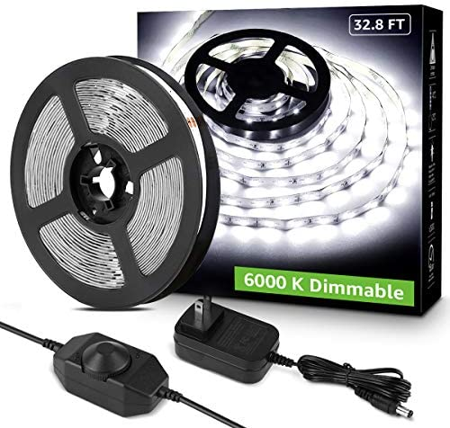 Lepro LED Strip Light, 32.8Ft Dimmable Vanity Lights, 6000K Super Bright LED Tape Lights, 600 LEDs SMD 2835, Strong 3M Adhesive, Suitable for Home, Kitchen, Under Cabinet, Bedroom, Daylight White