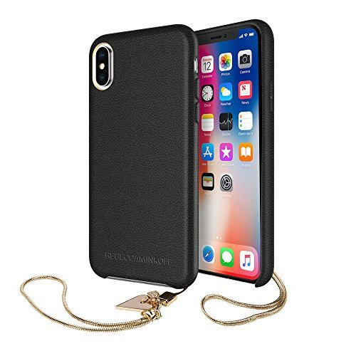 Rebecca Minkoff Never Not Leather Case with Charm for iPhone X - Black/Heart Charm - RMIPH-077-BLK ()