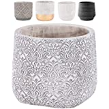 """INSPIRELLA Timeless Modern Indoor Flower Pot – 5.9"""" Ceramic Pots for Plants, Colorful Hand Glazed Cement Plant Pots with Drai"""