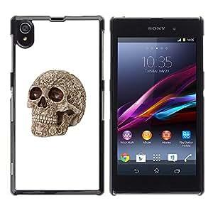 """For Sony Xperia Z1 Case , La muerte de Brown del hueso del cráneo de la muerte del motorista"""" - Diseño Patrón Teléfono Caso Cubierta Case Bumper Duro Protección Case Cover Funda"""