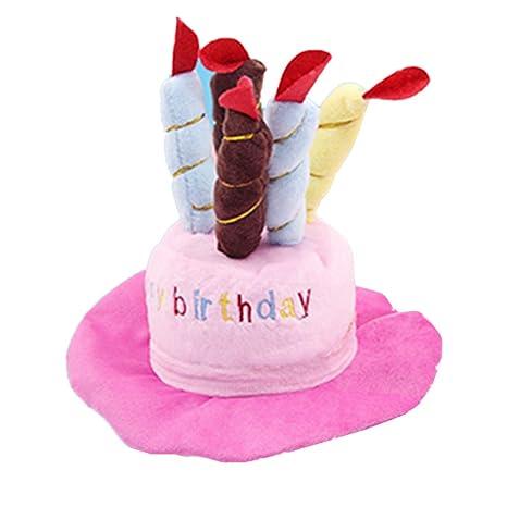 Kuiji - Gorro de cumpleaños para Mascota, diseño de Perro con Velas de Colores Ajustables para Perros pequeños, Grandes y medianos, Accesorio para ...