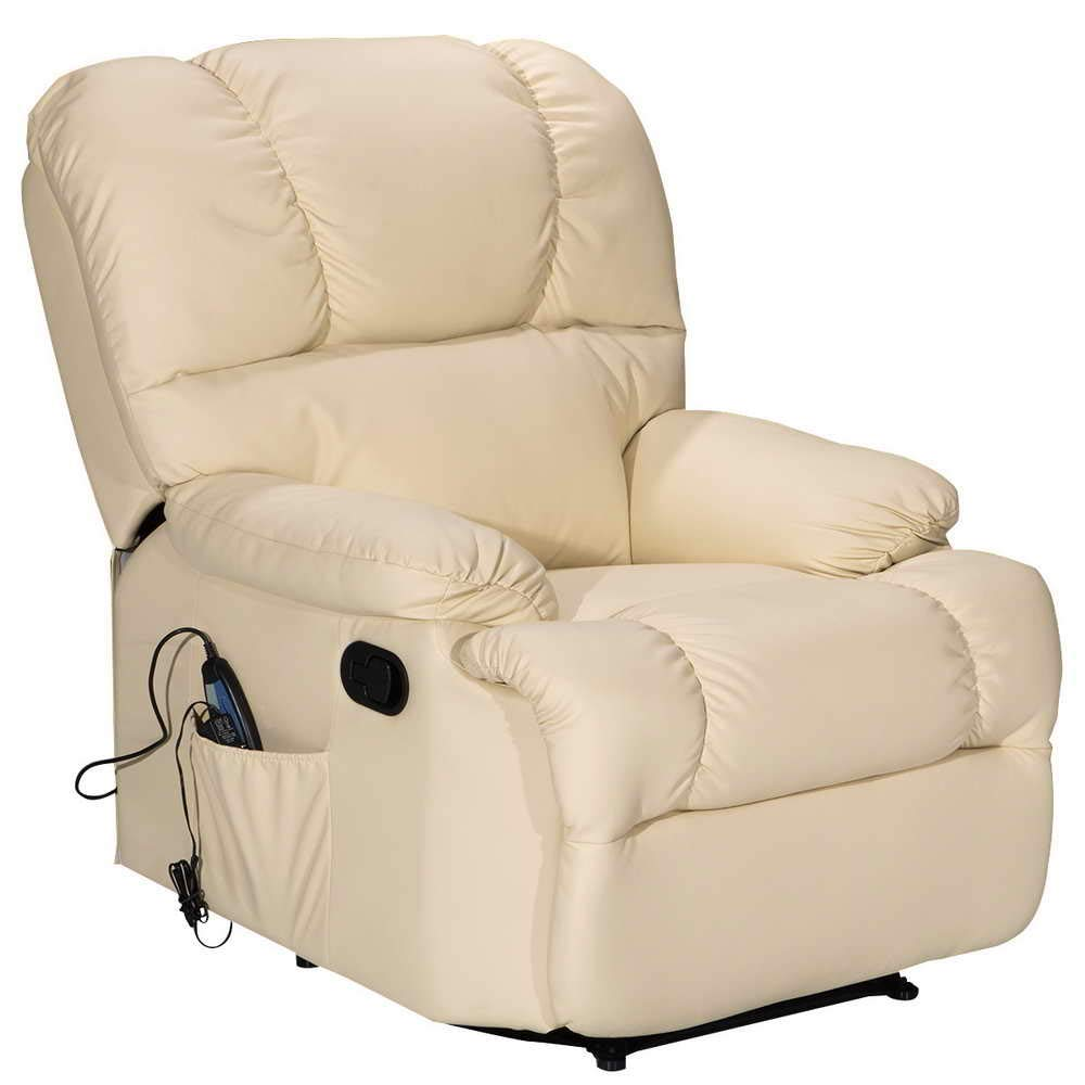 Massage Recliner Chair with Heating and Vibrating, WATERJOY Full Body Leather Massage Chair with Control Black Sofa Chair Recliner for Living Room (Beige) by WATERJOY