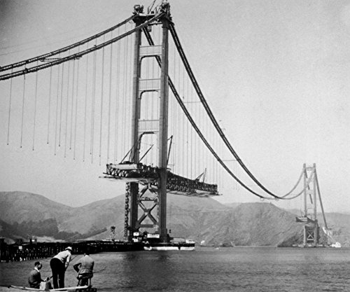 Laminated The Golden Gate Bridge During Construction Photo 20 x 24in