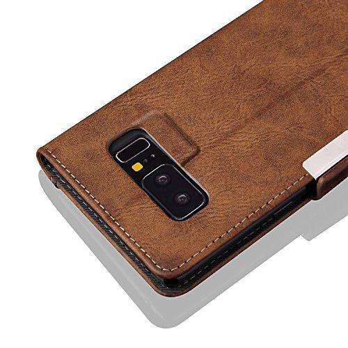 FQIAO Samsung Note 8 Funda, carcasa de piel sintética para protectora concisa Business Defender con dos tipos de ranura para tarjeta Durable para Samsung Note 8 2017 liberación rojo rosso marrón