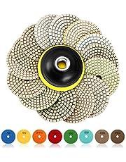 SPTA 15 st diamant slipplattor för våt poleringsplatta, 4 tums dynor för granitsten-, betong-, marmorgolv slip eller polerare, 50 # -6 000 # krok & ögla stödhållarskiva för våt polering och slipning
