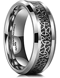 8mm Tungsten Carbide Ring Wedding Band for Men Inlay Celtic Knot Engagement Ring Comfort Fit