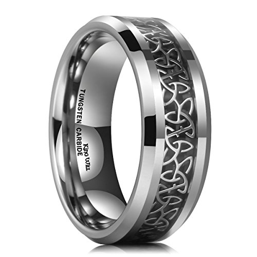 - King Will 8mm Tungsten Carbide Ring Wedding Band for Men Inlay Celtic Knot Engagement Ring Comfort Fit(13)