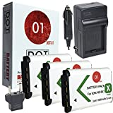 3x DOT-01 Brand Sony DSC-HX400V Batteries and Charger for Sony DSC-HX400V Camera and Sony HX400V Battery and Charger Bundle for Sony M8 M8
