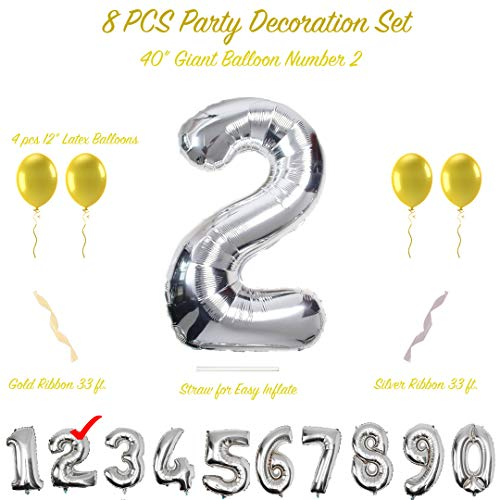 40 inch Silver Jumbo Number Balloons for Birthday Party or Anniversary (0-9) with 4 x 12 inches Gold Latex Balloons | MEGA Set with Free Bonus Gold and Silver Ribbons and Straw for Inflate (Number 2)
