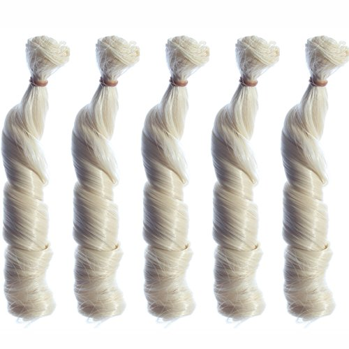 5pcs/lot,New Arrival 5.9''x 39.37''Heat Resistant Synthetic Big Curly Light Blond Hair Weft Deep Wavy Hair Extensions for DIY BJD/SD/Bly the/American Girl Doll (Country Girl Wig In Blonde)