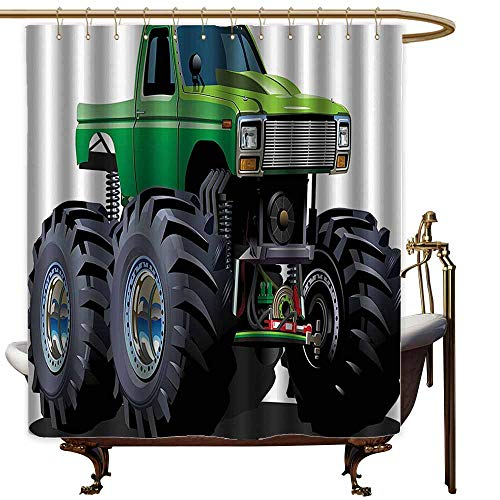1950 Full Suspension - Funny Shower Curtain,Cars Decor Giant Monster Pickup Truck with Large Size Tires and Suspension Extreme Biggest Wheel Print,Fashionable Pattern,W47x63L,Green Grey